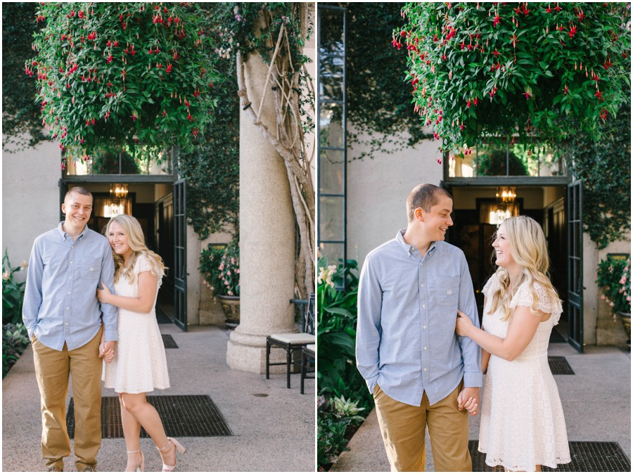 couple looking at each other at longwood gardens engagement