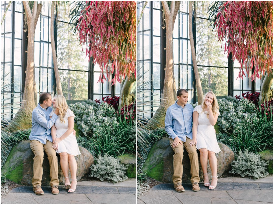couple sitting on rock at longwood gardens