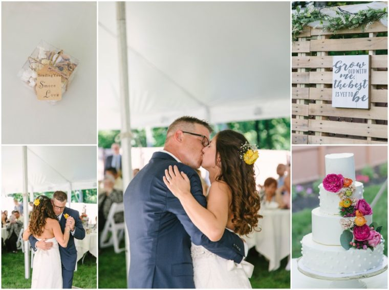 collage of backyard wedding in coatesville pa