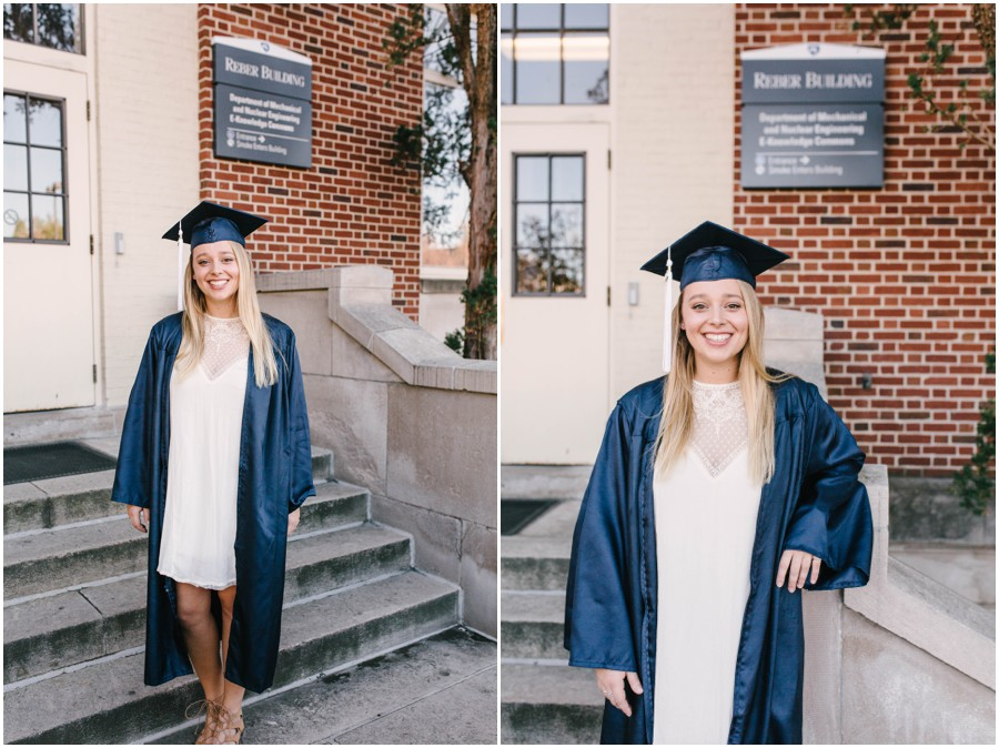 penn state graduate standing in front of building