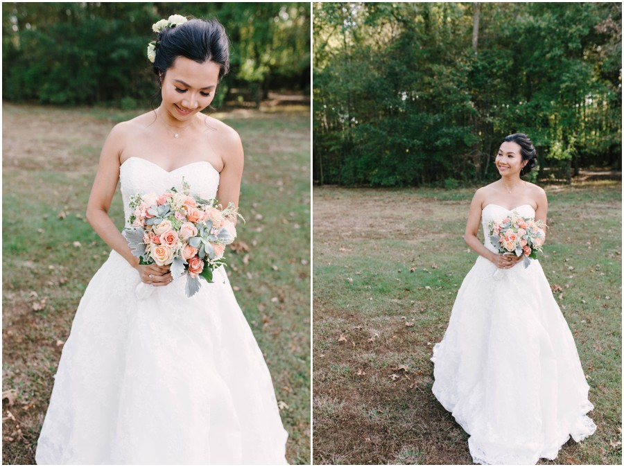 bride holding flowers at Lums Pond state park in newark de