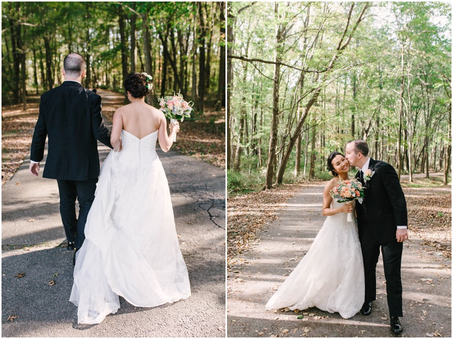 bride and groom walking at Lums Pond State Park