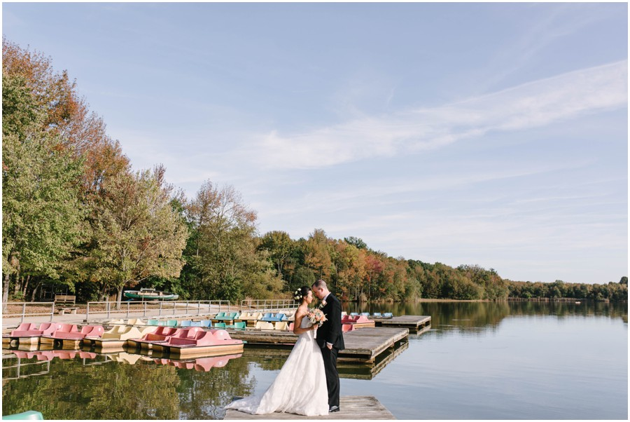 wide angle shot of couple at Lums Pond State park