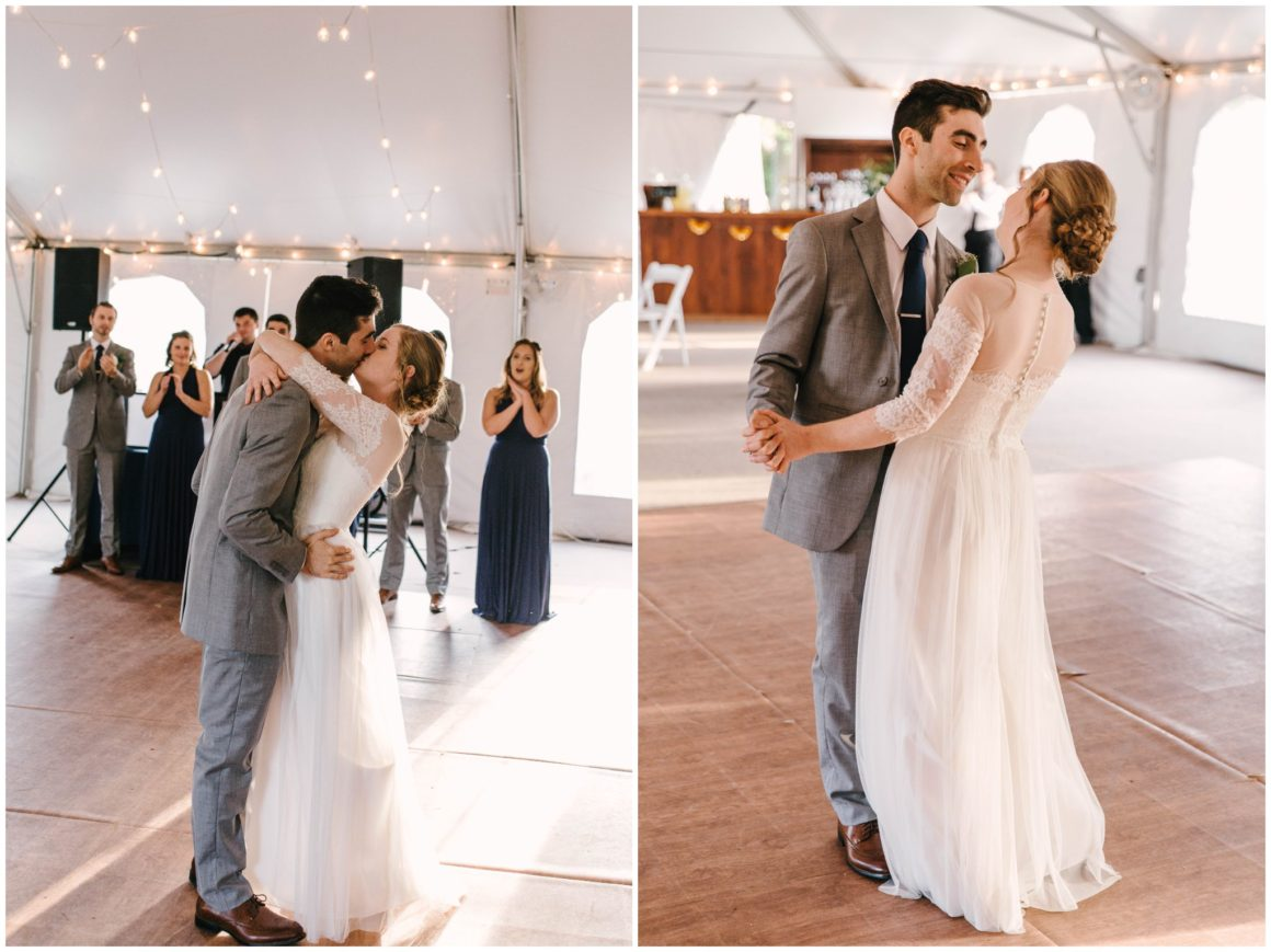 bride and groom kissing and dancing during first dance at reception at graeme park