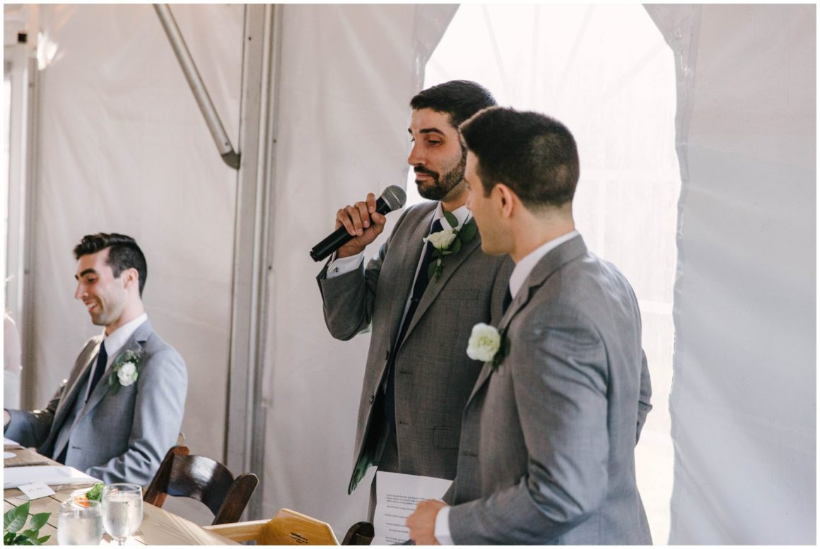 grooms giving speech at wedding reception at graeme park