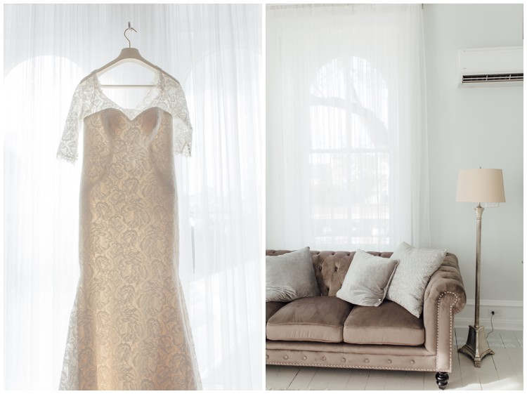 bride's dress at loch aerie mansion in bridal suite