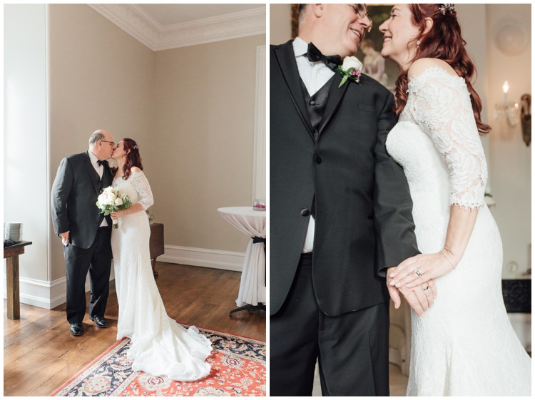 bride and groom kissing at loch aerie mansion wedding frazer pa